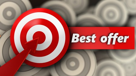 3d illustration of target with best offer sign over multiple targets background Stock Photo