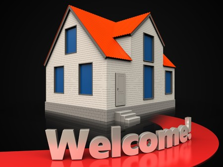 3d illustration of cottage house with welcome sign over black background Stok Fotoğraf
