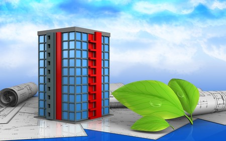 3d illustration of building over sky background Stock Photo