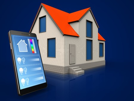3d illustration of cottage house with phone application over dark blue background Stok Fotoğraf