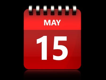 3d illustration of may 15 calendar over black background