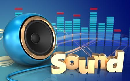3d illustration of blue sound speaker over wave blue background with sound sign