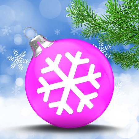3d pink Christmass ball over winter background with snowflake symbol and christmas tree branch