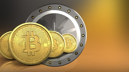 3d illustration of valut door over yellow background with bitcoins row