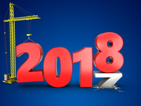 3d illustration of 2018 year with crane over blue background Stock Photo