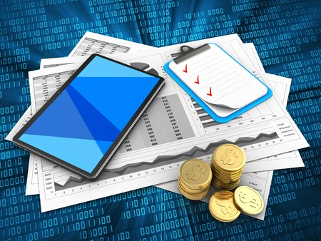 3d illustration of business charts and tablet computer over digital background with clipboard Stock Photo