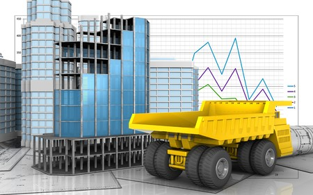 3d illustration of modern building frame with urban scene over business graph background Stock Photo