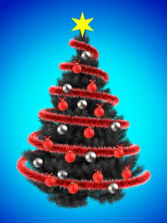 3d illustration of gray Christmas tree over blue with silver balls Stock Photo