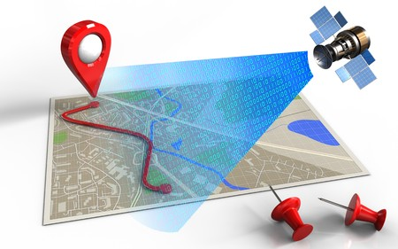routing: 3d illustration of map with route and satellite digital signal Stock Photo