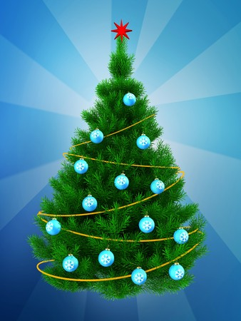 sequins: 3d illustration of Christmas tree with yellow tinsel over blue background