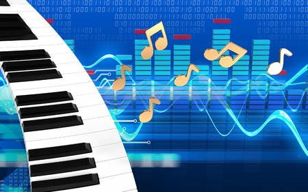 3d illustration of piano keyboard over cyber background with notes