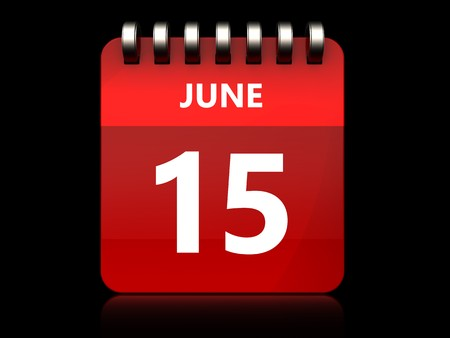 3d illustration of june 15 calendar over black background