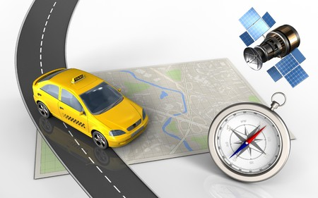 3d illustration of bright map with taxi and compass
