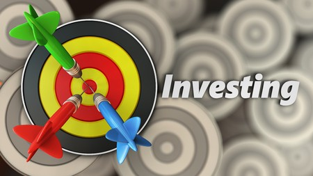 3d illustration of round target with investing sign over multiple targets background Stock Photo