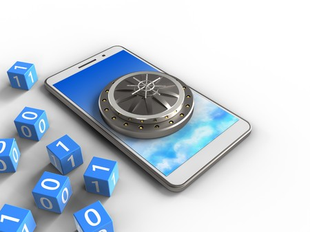 3d illustration of white phone over white background with binary cubes and vault door Stockfoto