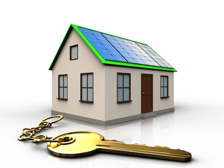 3d illustration of home with solar panel with golden key over white background