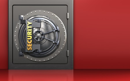 3d illustration of metal safe with security door over red background Stockfoto