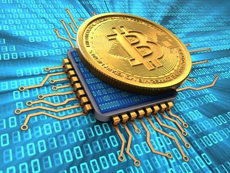 3d illustration of bitcoin over binary background with cpu 免版税图像