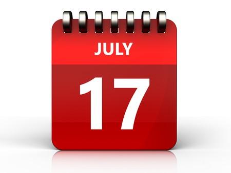 3d illustration of july 17 calendar over white background