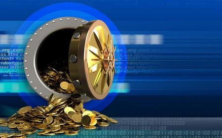 3d illustration of golden coins storage over cyber background