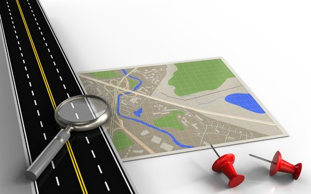 3d illustration of map with magnify glass and red pins Stockfoto
