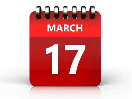 3d illustration of march 17 calendar over white background