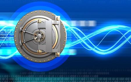3d illustration of bank door  over digital waves background Foto de archivo