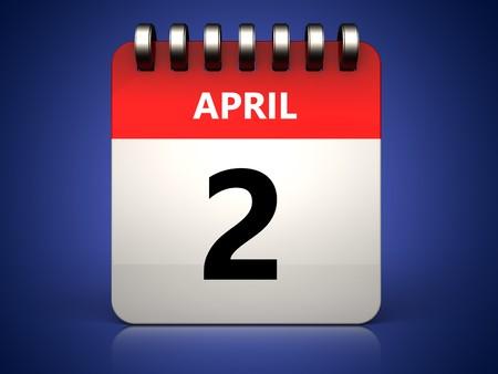 3d illustration of 2 april calendar over blue background Stockfoto