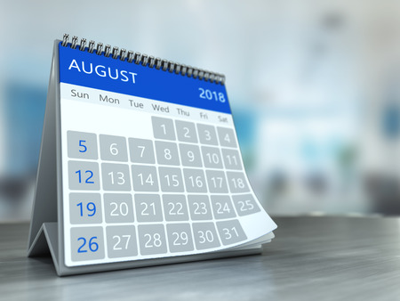 3d illustration of calendar over office background, august 2018 page