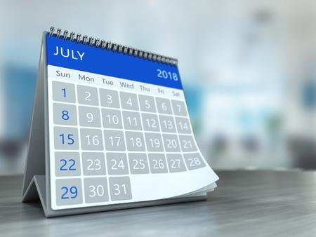 3d illustration of calendar over office background, july 2018 page