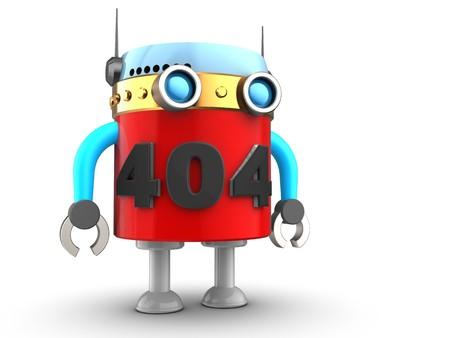3d illustration of robot blue over white background