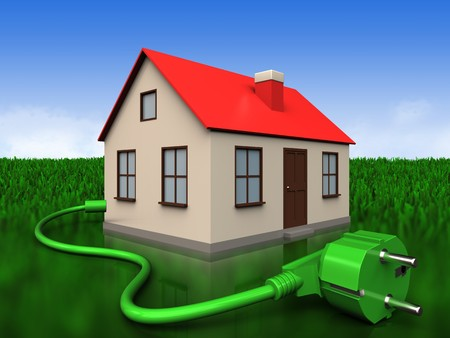 3d illustration of house with power cord over meadow background Stock Photo