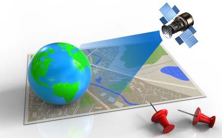 3d illustration of map with earth and satellite