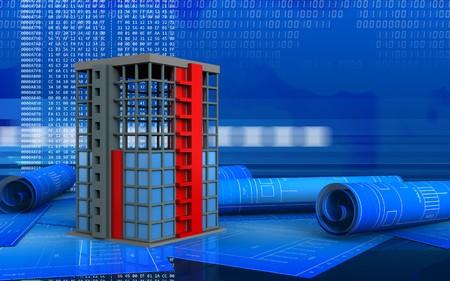 3d illustration of building construction over digital background