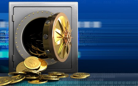 3d illustration of metal safe with dollar coins over cyber background