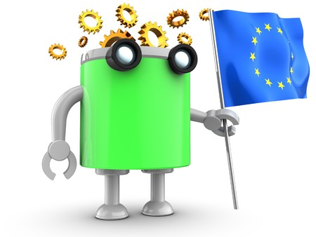 3d illustration of robot with with eu flag over white background Stock Photo