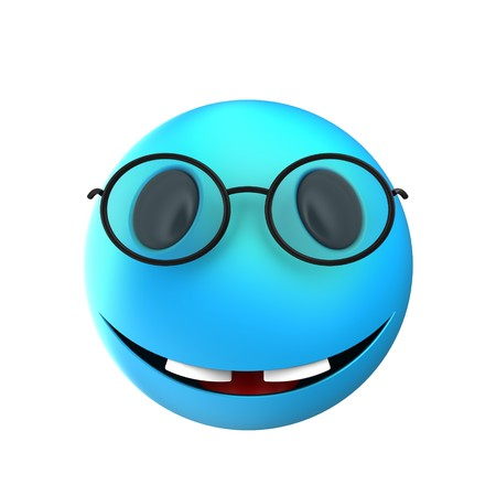 3d illustration of blue emoticon smile over white background with two teeths