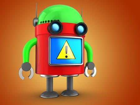 3d illustration of robot  over orange background