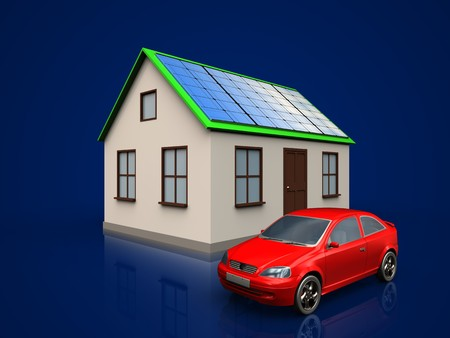 3d illustration of home with solar panel with car over dark blue background
