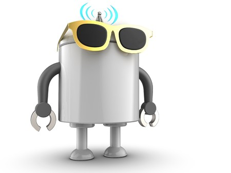 3d illustration of robot with  over white background