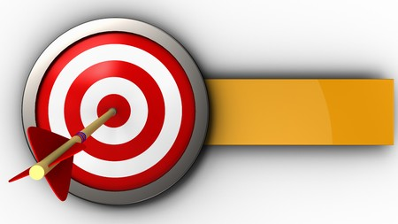 3d illustration of target with arrow over white background