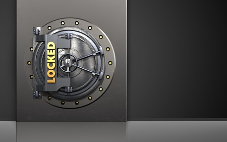 3d illustration of metal box with locked vault door over black background