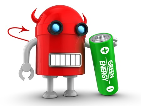 3d illustration of robot with battery over white background