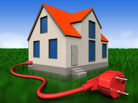 3d illustration of cottage house with power cable over meadow background