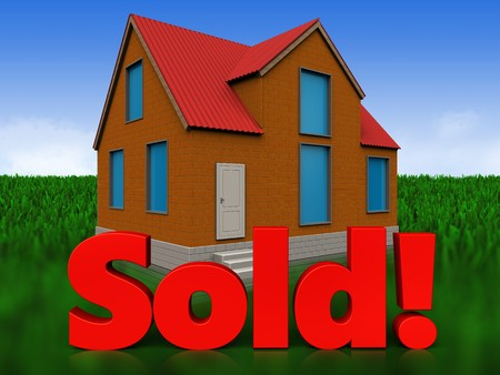 3d illustration of cottage with sold sign over meadow background Stock Photo