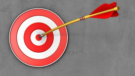 3d illustration of target with arrow over concrete background