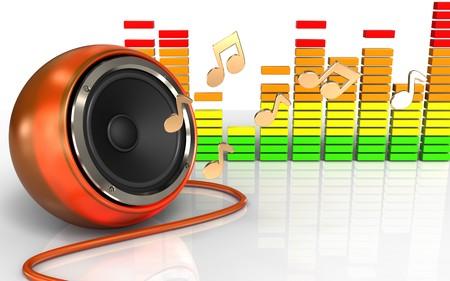 3d illustration of orange speaker over white background with notes Stock Photo