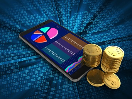 3d illustration of mobile phone over digital background with coins