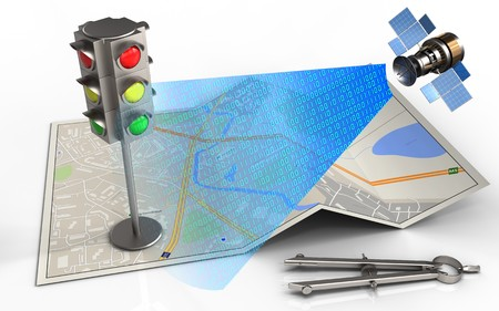 3d illustration of city map with traffic light and circle tool Stock Photo