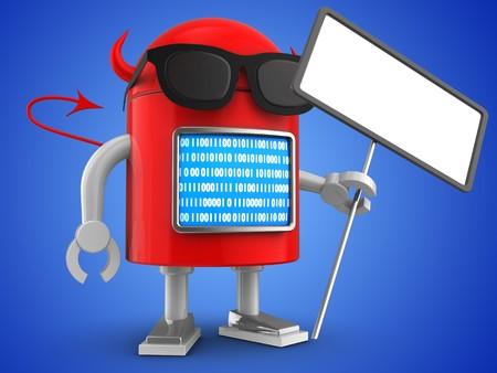 3d illustration of robot with  index over blue background